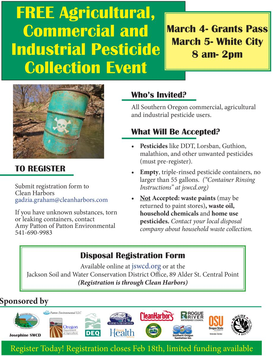 Medford Water Commission Free Agricultural Pesticide Collection Events